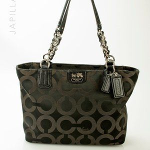 Caoch Madison canvas op art chain link tote